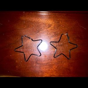 Jewelry - Black Star Shaped Hooped Earrings